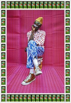 Hassan Hajjaj, Mr K. Jones, 2013, Metallic Lambda on Dibond with Wood and Found Objects, 53 1-2 x 37 in, courtesy of the artist and GUSFORD los angeles