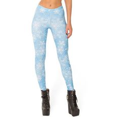 Chicnova Fashion Leggings in Snowflake Print (10 AUD) ❤ liked on Polyvore featuring pants, leggings, snowflake pattern leggings, bodycon pants, elastic waist pants, white trousers and white elastic waist pants