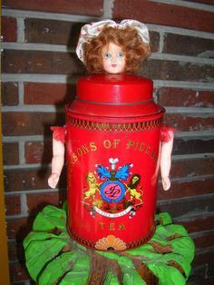 Vintage Tea Tin Doll Original Art Assemblage Cache. by TillyFritz