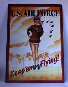 "Pin Up Air Force Sign. ""Keep Em Flying"". Metal Sign. - Junk Drunk Jones"
