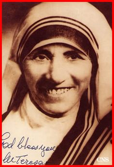 A young Mother Teresa is pictured in a signed photo from 1948,the year she began her work in the slums of Calcutta in India.