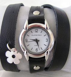 This unique silver watch is made with a real, high quality black leather band. Unique watch with a lovely pattern and can be a perfect gift for you and for your family and friends.