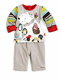 Catimini - Infant's Two-Piece Polar Bear Shirt & Striped Pants Set