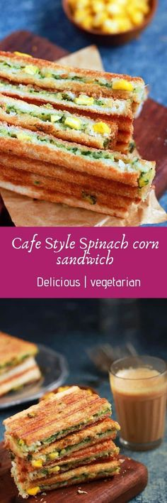 Spinach corn sandwich recipe with step by step photos. learn how to make grilled corn and spinach sandwich with cheese with this easy recipe Corn Sandwich, Sandwich Recipes, Indian Food Recipes, Real Food Recipes, Vegetarian Recipes, Healthy Sandwiches, Wrap Sandwiches, Baby Corn Recipes, Cafe Coffee Day