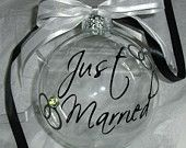 Custom Just Married Christmas Ornament
