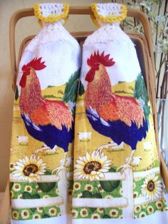 Rooster Kitchen Decor   Rooster Crocheted Kitchen Hand Towels - Home and Living - Kitchen ...
