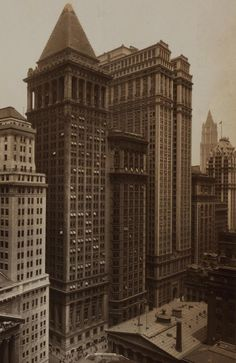 Bankers Trust Company,14 Wall St in 1911 (completed 1912) #historic #documentary #old #architecture #skyscraper #newyork #nyc    My dad's career was with Banker's Trust and as a child I visited him at the Pyramid Building on occasion.