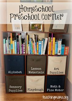 Homeschool Preschool Corner (organizational ideas) This may look a bit more peaceful for my family when I'm not teaching.