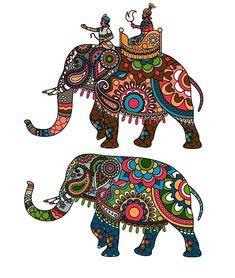 Buy Indian Elephant by ssstocker on GraphicRiver. Indian decorated elephant with rider Maharaja. Indian Elephant, Elephant Art, Elephant Design, Kalamkari Painting, Madhubani Painting, Elephant Illustration, Illustration Art, Lord Ganesha Paintings, Frida Art