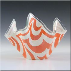 Chance Brothers Orange Glass 'Psychedelic' Handkerchief Vase - £30.00