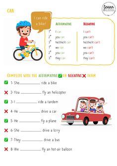 Can - Interactive worksheet English Grammar Book, English Worksheets For Kids, Learn English Words, Teaching English, English Activities For Kids, English Lessons For Kids, Esl Lessons, Grammar For Kids, English Exercises