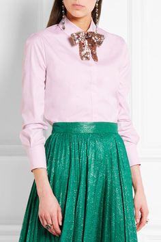 Gucci - Embellished Cotton-poplin Shirt - Pink - IT44