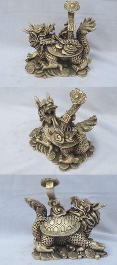 6 Inch high Asian Tibet silver home decor dragon turtle sculpture,Wishful statue Metal crafts $82