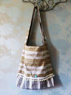 A stunning messenger bag, funky, retro and unique! Vintage French ticking. on Etsy, $34.00