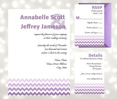 Purple Chevron Modern Wedding Invitation Suite - Edit in Adobe Reader - Print at Home or in Shop - Easy DIY Kit by AntonDigitalDesigns on Etsy