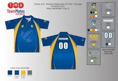 Artwork for the ACT Indoor Cricket State team playing shirts