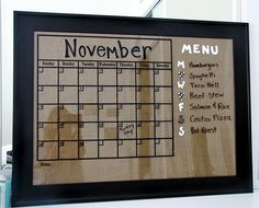 burlap vinyl calendar and menu board tutorial