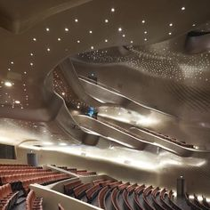 "One of Hadid's most important buildings, the Guangzhou Opera House features a ""twin-boulder design"", designed to look like a pair of huge pebbles on the bank of the Pearl River in China's Guangdong Province"