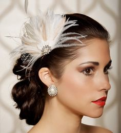 Ivory Champagne Bridal Head Piece Feather Fascinator Vintage Inspired Pearl Rhinestone Wedding Hair Piece - Made to Order - ISABEL. $64.00, via Etsy.