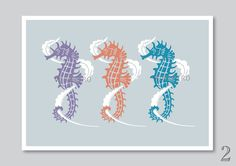 Sea horse art print nursery decor kids playroom by Vinspiro, $18.00