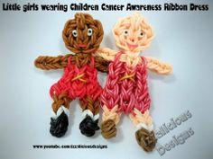 Rainbow Loom Tutorial : Girl wearing Childrens Cancer Awareness Ribbon - single loom