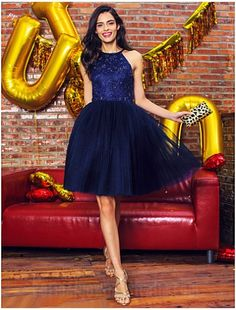 AUSTRALIA COCKTAIL PARTY DRESS DARK NAVY BALL GOWN HALTER SHORT KNEE-LENGTH LACE TULLE - $99.99 - #CouponCode: 10usdoff #formaldressesaustralia #cheapeveningdressesaustralia #cheapformaldressesonline #cheapformaldressesaustralia #formaldressesonline