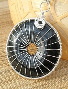 Wire wrapped black agate donut gemstone pendant by catinalife,