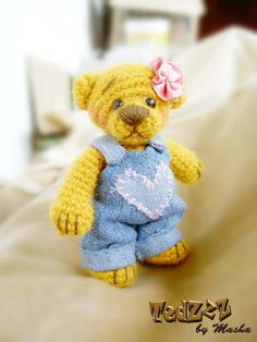 Dasha - Crocheted Handmade Teddy Bear by Masha #amigurumi