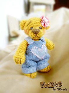 Dasha - Crocheted Handmade Teddy Bear by Masha #amigurumi