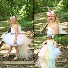 Rainbow Little Girl Pony Birthday Unicorn Tutu Dress Kids Formal Special Occasion Party Dresses Long Train Tail With Headband Girls Tutu Dresses, Tutus For Girls, Flower Girl Dresses, Party Dresses, Unicorn Dress, Unicorn Costume, Patriotic Dresses, Princess Girl, Unicorn Birthday