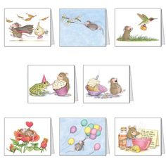 """""""8 Assorted Note Cards / 8 envs"""", Stock #: N-16, from House-Mouse Designs®. This item was recently purchased off from our web site, www.house-mouse.com. Click on the image to see more information."""