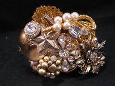 Bridal Cuff Wedding Bracelet Vintage Pearl by JenniferJonesJewelry, $185.00