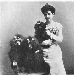 Miss Florence Brunker with her poodles Pierrette, Soupet and La Privette. 1902.