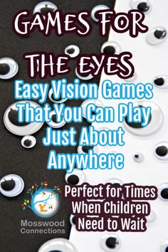 Games for the Eyes that You Can Play Just About Anywhere eye tracking games, visual scanning games, visual perception School Age Activities, Educational Activities For Kids, Learning Games, Sensory Activities, Book Activities, Sensory Rooms, Indoor Activities, Indoor Games, Summer Activities