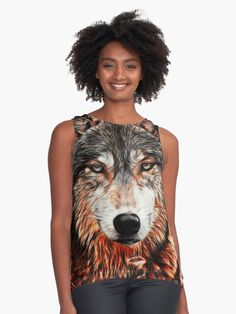 « wolf, head wolf, loup, tete de loup, lobo » par LEAROCHE Shirt Style, People, T Shirt, Dresses, Fashion, Wolves, Tee, Gowns, Moda
