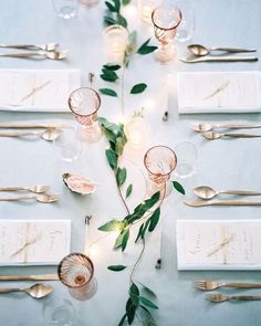 What a difference some candles, pretty glassware, gold cutlery and a touch of greenery make. Keep it simple peeps... #MBloves via @laurenconrad #tablescape #weddinginspiration