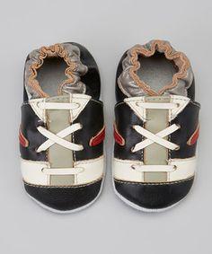 Loving this MOMO Baby Black Stripe Sneaker Booties on #zulily! #zulilyfinds