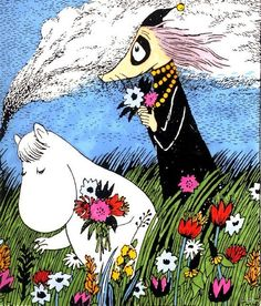 Niiskuneiti ja Vilijonkka - Snork maiden and Fillyjonka Tove Jansson, Moomin Valley, Weird And Wonderful, Children's Book Illustration, Art Reference, Comic Art, Fairy Tales, Whimsical, Artsy