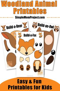 Here's 10 awesome Woodland Animal Printables for your kids to use in their next forest themed crafts.  Including such favorites as fox craft, deer craft, a cute owl craft there's even a gorgeous hedgehog craft! These easy woodland animal printables are sure to keep toddlers, preschoolers or even big kids amused for hours. Ideal art project activities or even homeschooling lessons, these forest animal crafts are a sure hit for your home! #woodlandanimalcrafts #forestfriends…