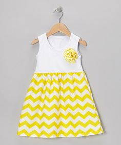 Take a look at this White & Yellow Zigzag Dress - Toddler & Girls by Royal Gem Clothing on #zulily today!