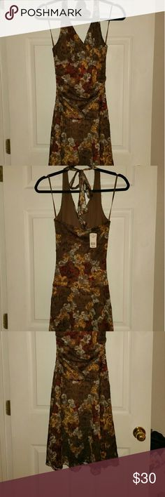 Brown Halter Dress with gold and wine Beautiful lined halted  knee length dress Le Chateau Dresses Midi