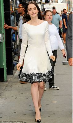 A dream in cream: Lily Collins was the epitome of elegance as she made an appearance on Good Morning America on Wednesday morning in New York City