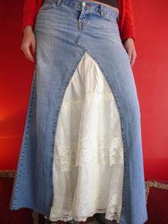 jean skirt lace insert