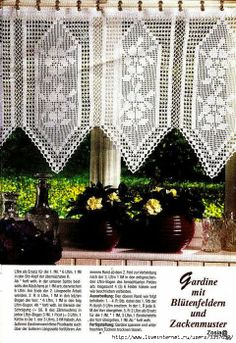 Pretty crochet curtain, filet work ♥LCC-MRS♥ with diagram