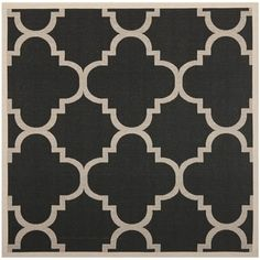 """Top Product Reviews for Safavieh Indoor/Outdoor Courtyard Black/Beige Geometric Rug (7'10"""" Square) - Overstock.com"""