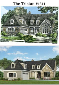 Before and After! The Tristan #1311. http://www.dongardner.com/house-plan/1311/the-tristan. #BeforeandAfter #Rendering #HomePlan
