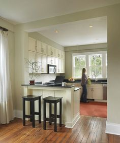 The Best Open Concept Kitchen Design Trends of 2018 Open concept kitchen- living room is perfect for small apartments but it also looks gorgeous in big spaces when the kitchen is connected with the dining room Half Wall Kitchen, Open Kitchen And Living Room, Kitchen Redo, Kitchen Small, Kitchen Ideas, Kitchen Bars, Ikea Kitchen, Kitchen Floor, 1950s Kitchen