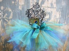 turquoise & periwinkle tutu...and a big bow!