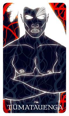 Niu (Maori Oracle card set) - Card 29 Tumatauenga, the God of War. Nz Art, Maori Art, Fire Nation, Weaving Art, God Of War, Oracle Cards, Deities, Diy Clothes, Printmaking