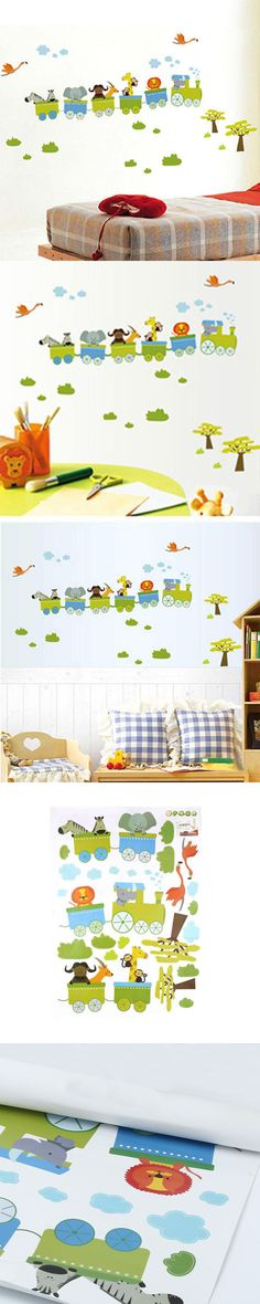 Free Shipping Animal Circus Train Children DIY Removable Wall Stickers Parlor Kids Bedroom Home House Decoration HG02852 S03